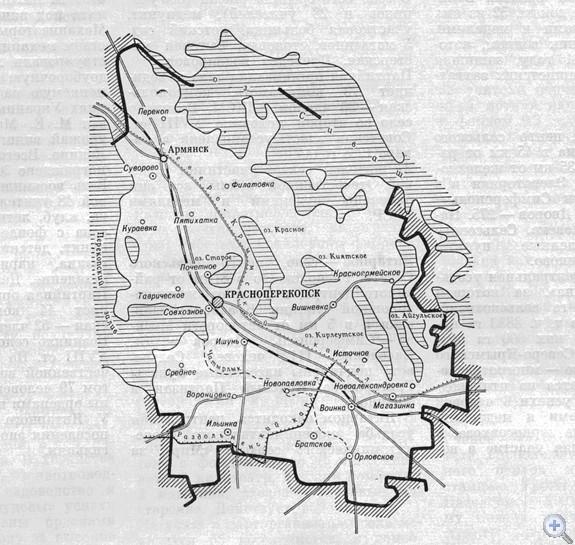 Площадь района — 1,4 тыс. кв. км, население — 61,6 тыс. человек (в т. ч. сельского — 32,8 тыс,). Средняя плотность населения — 44 человека на 1 кв. км. Городскому, поселковому и 10 сельским Советам подчинено 46 населенных пунктов. В районе — 3 железнодорожные станции, 15 предприятий. Здесь расположено 12 совхозов и один колхоз, за которыми закреплено 84.3 тыс. га угодий, из них 64,8 тыс. га пахотной земли. Выращиваются главным образом зерновые культуры, развито мясо-молочное животноводство. Территорию района пересекает Северо-Крымский канал. Население обслуживают 3 больницы с поликлиниками, 6 врачебных и 34 фельдшерско-акушерских пунктов, 8 аптек. В 37 общеобразовательных школах, в т. ч. 13 средних, 10 восьмилетних, 14 начальных и профессионально-техническом училище, обучается 13,7 тыс. учащихся. Культурно-просветительную работу ведут 9 домов культуры, 36 клубов, 35 библиотек. Есть 2 музыкальные школы, 60 стационарных киноустановок. В районе — 2 памятника В. И. Ленину. В 31 населенном пункте сооружено 27 памятников и 10 обелисков Вечной славы воинам-освободителям и односельчанам, погибшим в боях с немецко-фашистскими захватчиками в годы Великой Отечественной войны.