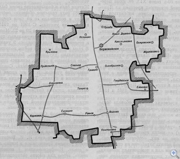 Площадь района — 1392 кв. км, население — 34 тыс. человек (в т. ч. сельского 28,4 тыс.). Плотность населения — 25 человек на кв. км. Поселковому и 12 сельским Советам депутатов трудящихся подчинено 44 населенных пункта. На предприятиях, в колхозах, совхозах, учреждениях — 41 первичная партийная, 58 комсомольских и 73 профсоюзных организации. В экономике ведущее место принадлежит полеводству, животноводству, виноградарству. За 7 совхозами и 8 колхозами закреплено 129,8 тыс. га сельскохозяйственных угодий, в т. ч. 88,9 тыс. га пахотных, 20 тыс. га поливных земель. В районе — 6 промышленных предприятий. Сеть медицинских учреждений состоит из 3 больниц, 32 фельдшерско-акушерских пунктов, 4 аптек. В 31 общеобразовательной школе, в т. ч. 11 средних, 5 восьмилетних, 15 начальных, обучается 7549 учеников. Культурно-просветительную работу ведут 8 домов культуры, 9 клубов, 24 библиотеки. Действуют 34 киноустановки. При Первомайской средней школе № 1 создан музей В. И. Ленина. В районе — 3 памятника В. И. Ленину, 17 памятников воинам, погибшим в годы гражданской и Великой Отечественной войн.