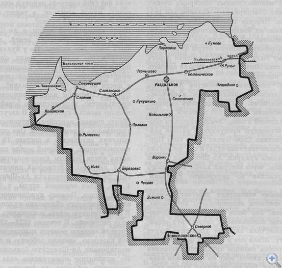 Площадь района — 1,2 тыс; кв. км. Население — 32,9 тыс. человек, в т. ч. сельского — 23,5 тыс. Плотность населения — 27 человек на 1 кв. км. 2 поселковым и 9 сельским Советам депутатов трудящихся подчинены 47 населенных пунктов. На предприятиях, в совхозах, колхозах и учреждениях — 56 первичных партийных, 74 комсомольские и 66 профсоюзных организаций. В экономике ведущее место принадлежит сельскохозяйственному производству. В районе 8 промышленных предприятий. За 7 совхозами и 7 колхозами закреплено 110,4 тыс. га сельскохозяйственных угодий, в т. ч. 82,5 тыс. га пахотной земли. Население обслуживают 32 медицинских учреждения, в которых работают 42 врача. В 26 общеобразовательных школах, в т. ч. 8 средних, 8 восьмилетних, 8 начальных, школе рабочей молодежи и заочной школе, обучаются 6752 ученика. Культурно-просветительную работу ведут 11 домов культуры, 29 клубов, 23 библиотеки. Есть 2 кинотеатра, 40 киноустановок. В населенных пунктах района сооружено 3 памятника В. И. Ленину, 4 памятника и 20 обелисков Славы советским воинам, погибшим в годы гражданской и Великой Отечественной войн.