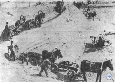 Вывоз руды из карьера. Кривой Рог, 1900 г.