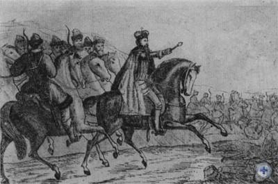 Даниил Галицкий в битве с монголо-татарами. Литография А. Томашевского. 1835 г.