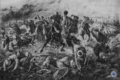 Бой запорожских казаков с турецкими завоевателями под Хотином в 1621 году. В центре гетман П. Сагайдачный. Худ. А. Климко. 1937 г.