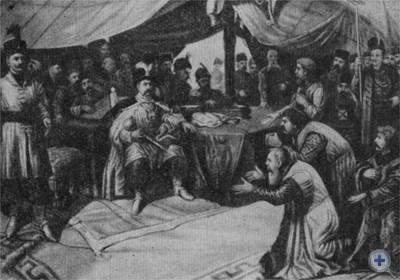 Львовские мещане в лагере Б. Хмельницкого под Львовом в 1648 г. Литография худ. Е. Турбацкого. 1907 г.