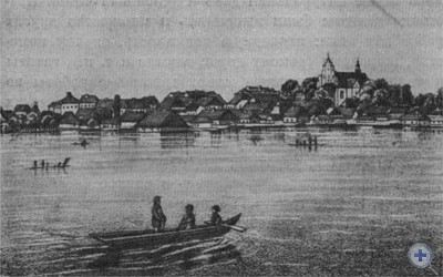 Село Куликов возле Жолквы. Первая половина XIX в. Литография худ. Б. Степчинского.