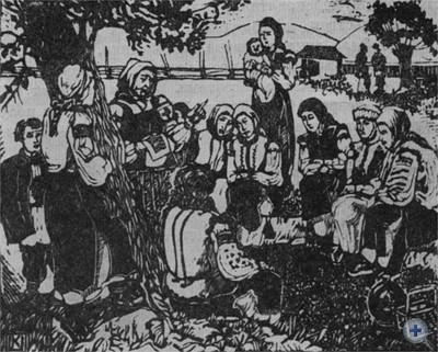 «Жіноча рада». Литография худ. Е. Кульчицкой. 1958 г.