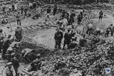 Судебно-медицинская экспертиза трупов гитлеровских жертв в Яновском концлагере. 1944 г.
