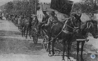 Крестьяне Винниковского района сдают хлеб в фонд Обороны страны. 1944 г.