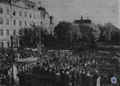 Митинг, посвященный принятию новой Конституции. Львов, октябрь 1977 г.