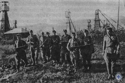 Группа советских автоматчиков в районе Борислава. 1944 г.
