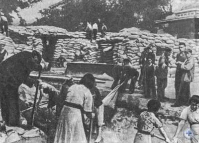 Баррикады на улицах Одессы в августе 1941 года.