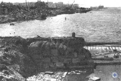 Одесский порт, разрушенный оккупантами. 1944 г.