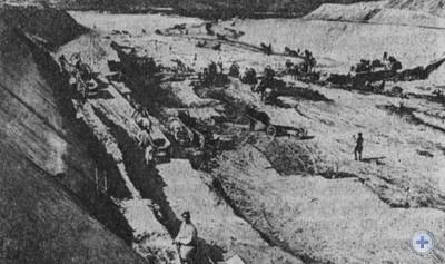 Начало строительства Днепровской гидроэлектростанции. Запорожье. 1927 г.